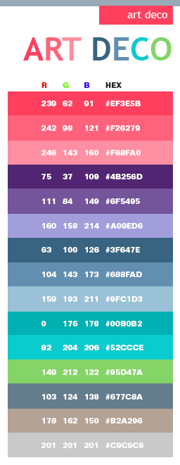 deco color schemes color combinations color palettes for print cmyk and web rgb html