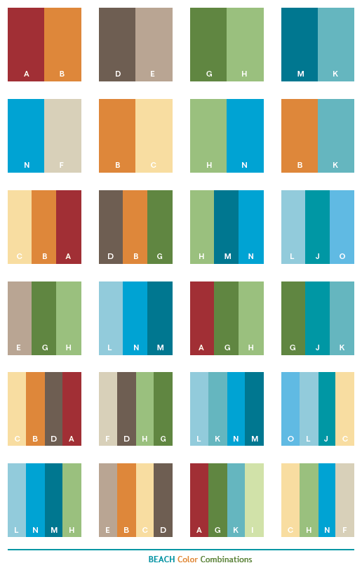 Color Combo beach color schemes, color combinations, color palettes for print
