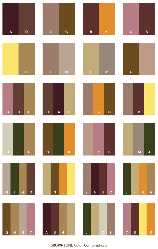 Brown Tone Color Combinations Web Palettes