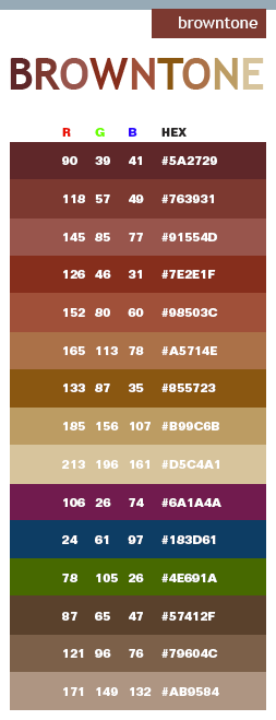 Brown tone color schemes, color combinations, color palettes