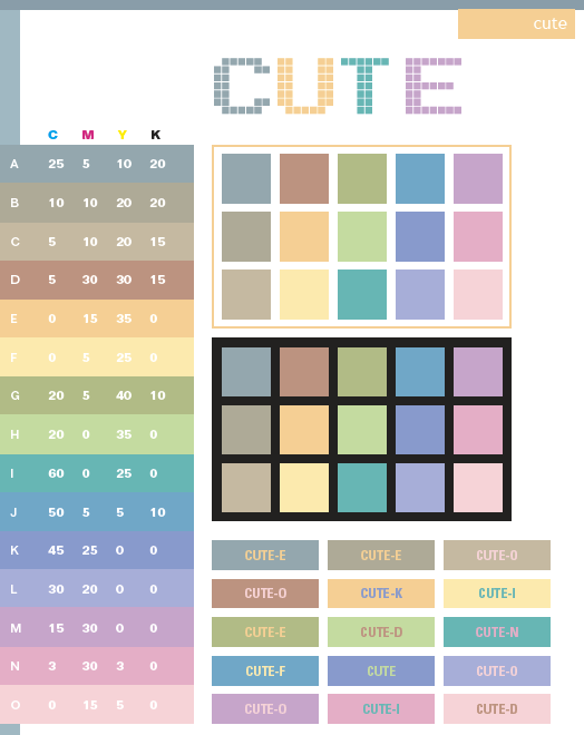 Cute Color Schemes Combinations Palettes For Print