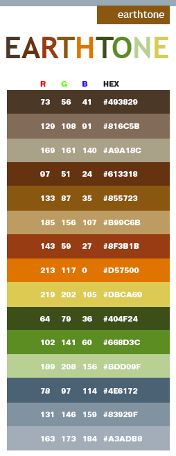 Warm Earth Tone Color Scheme 254 x 658