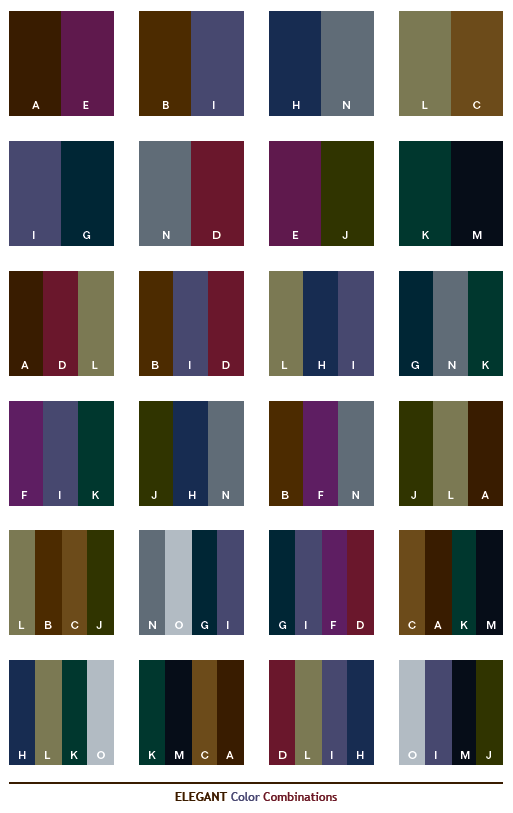 Elegant Color Combinations Web Palettes