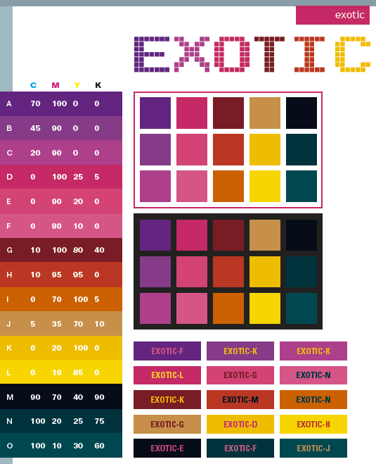 Exotic Color Schemes Combinations Palettes For Print
