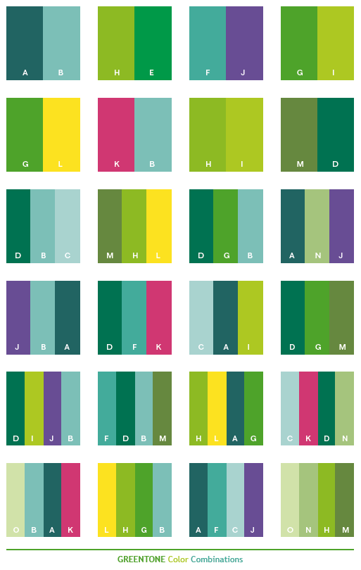 Green Tone Color Schemes Color Combinations Color Palettes For Print CMYK