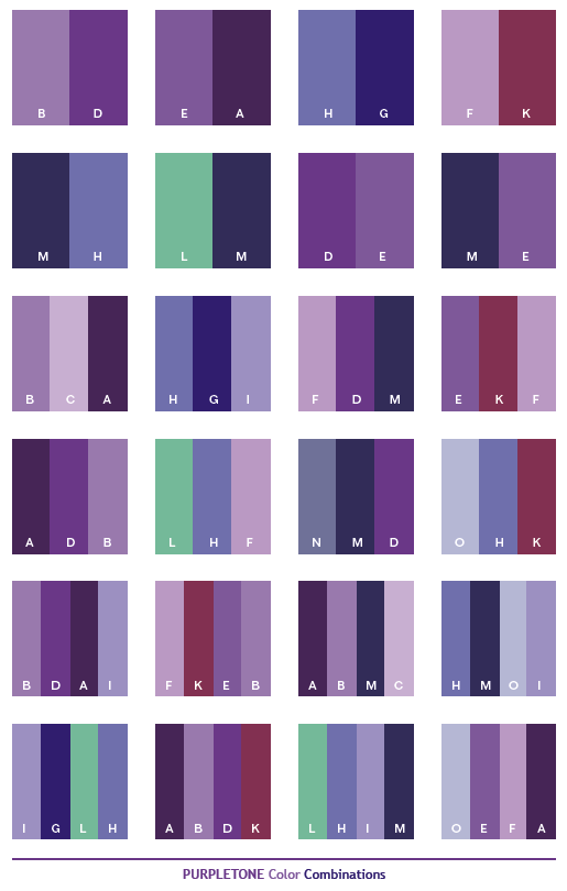 Purple Tone Color Combinations Web Palettes
