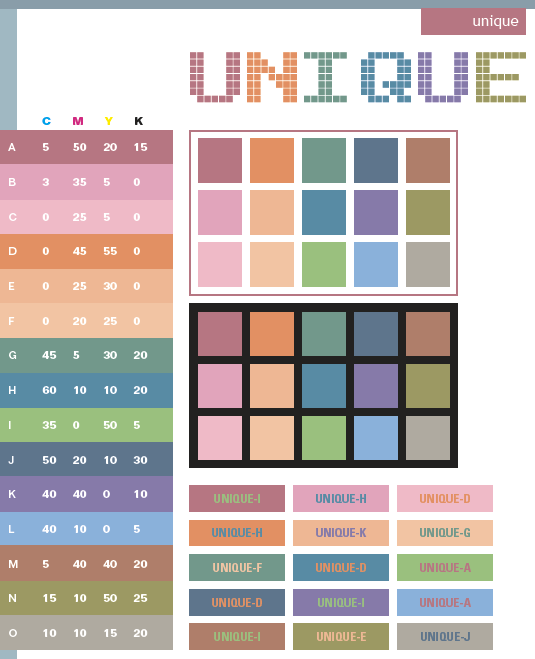 unique color schemes, color combinations, color palettes for print