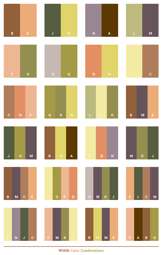 Color Combo warm color schemes, color combinations, color palettes for print