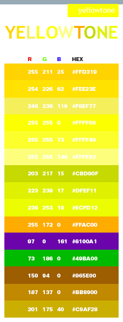 Very Best Yellow Color Palette 253 x 659 · 25 kB · png