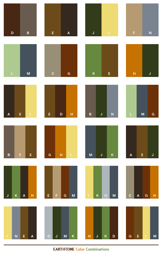 Earth Tone Color Combinations Web Palettes